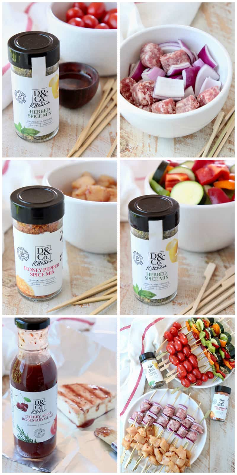 Collage of images showing how to make mini skewers