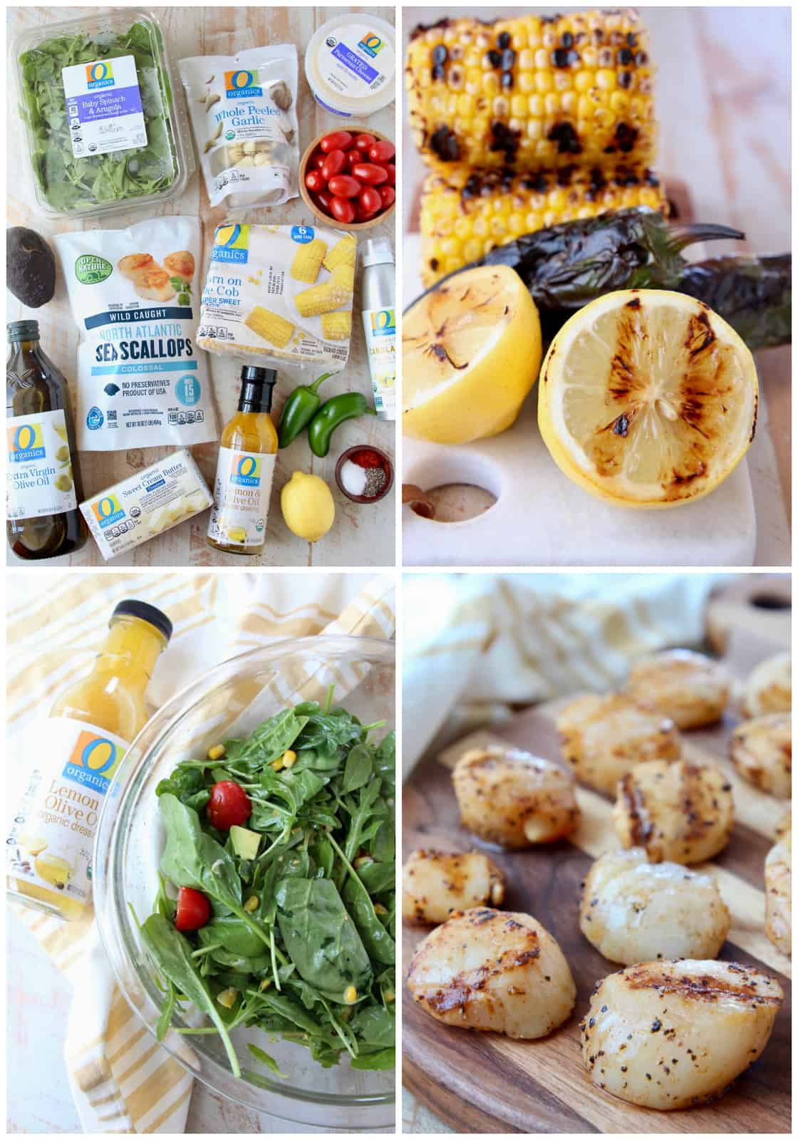 Collage of images showing the ingredients and how to make grilled scallops with a salad