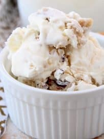 Chocolate chip cookie dough ice cream in small white bowl