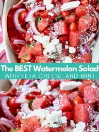 Diced watermelon in bowl with crumbled feta cheese