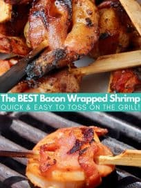 Bacon wrapped shrimp on wood skewers