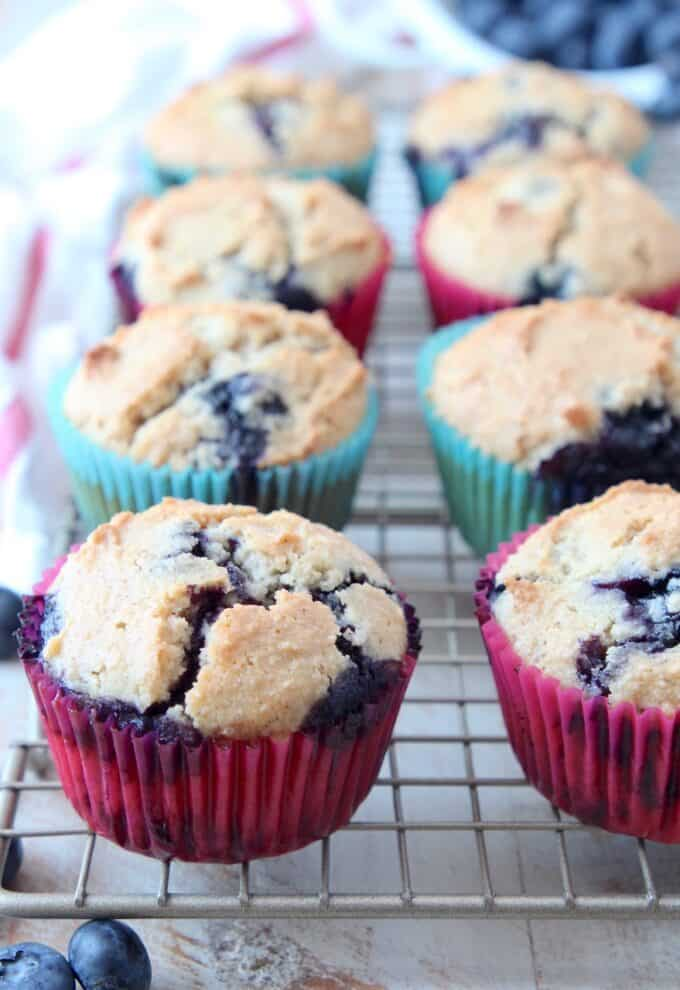 Blueberry muffins on wire rack