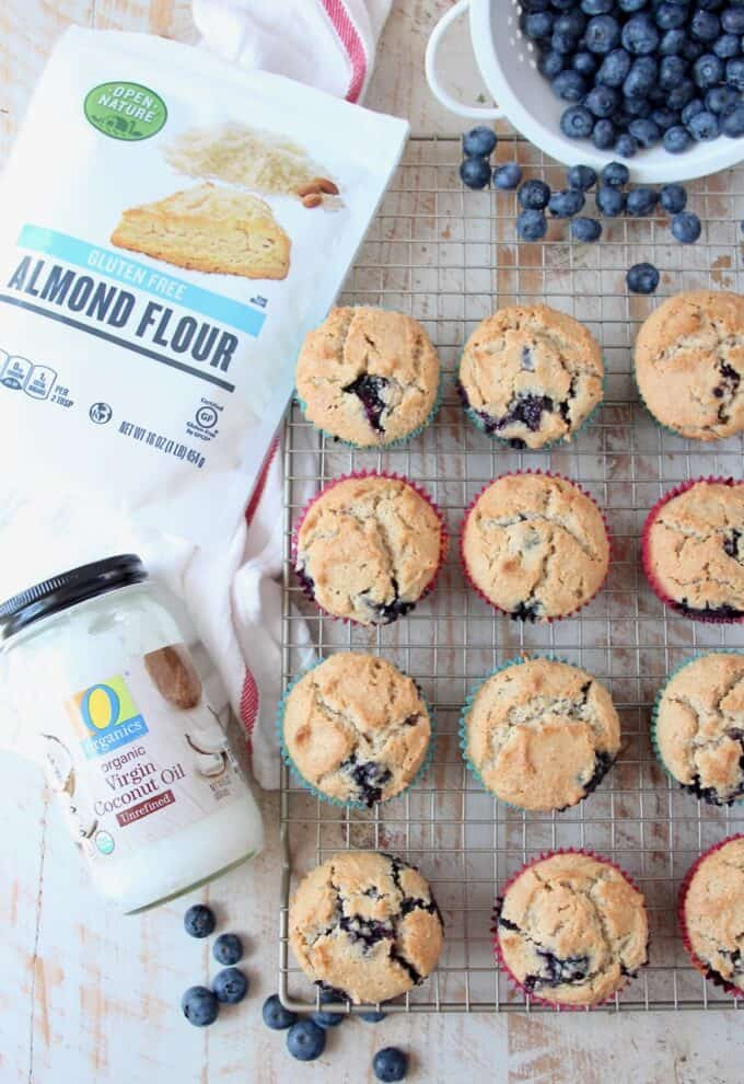 overhead image of blueberry muffins on wire baking rack