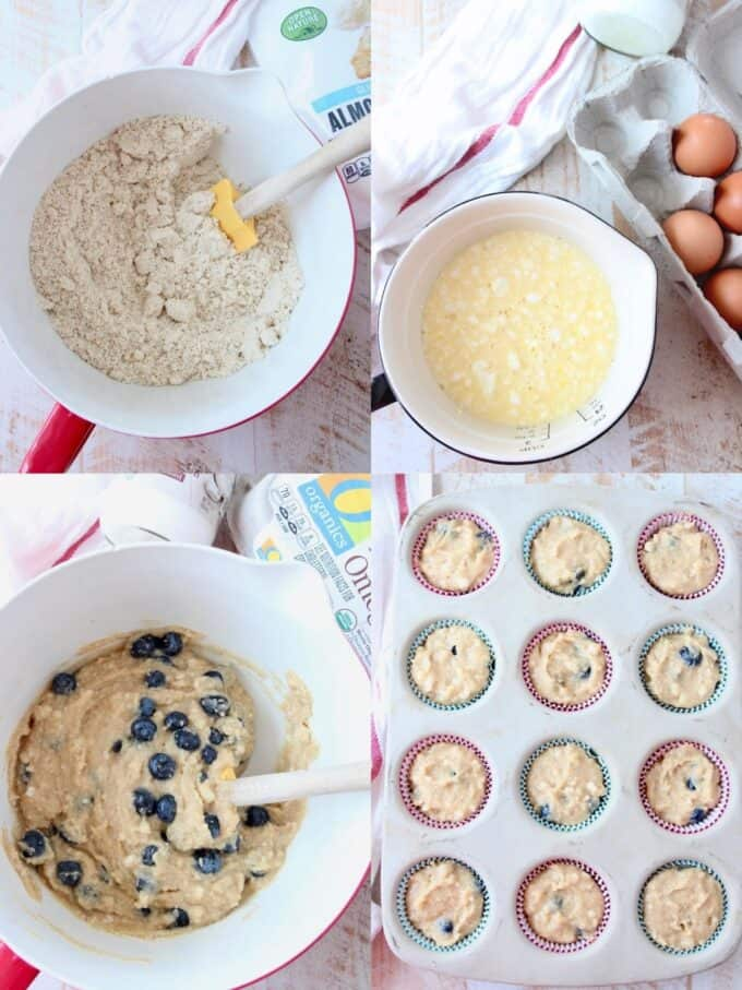 collage of images showing how to make low carb blueberry muffins