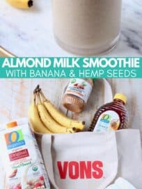 collage of images with smoothie in glass and ingredients on shopping bag