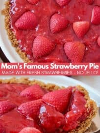 Strawberry pie with slice being taken out of the pie