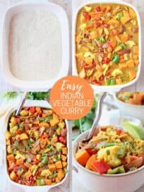 collage of images showing how to make vegetable curry casserole