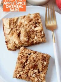 overhead image of apple oatmeal bars on plate with fork