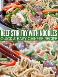 beef stir fry with noodles in skillet with serving spoon and chopsticks