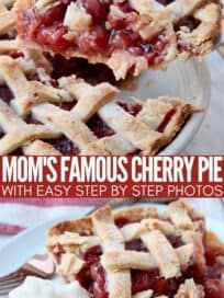 slice of cherry pie coming out of pan and on plate with whipped cream