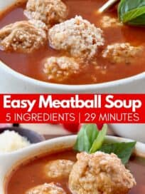 meatball soup in bowl with gold spoon