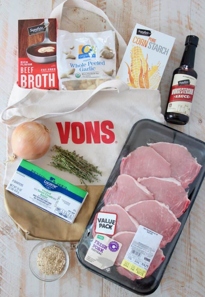 Ingredients for french onion pork chops