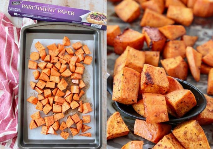 collage of images showing how to make roasted sweet potatoes with honey