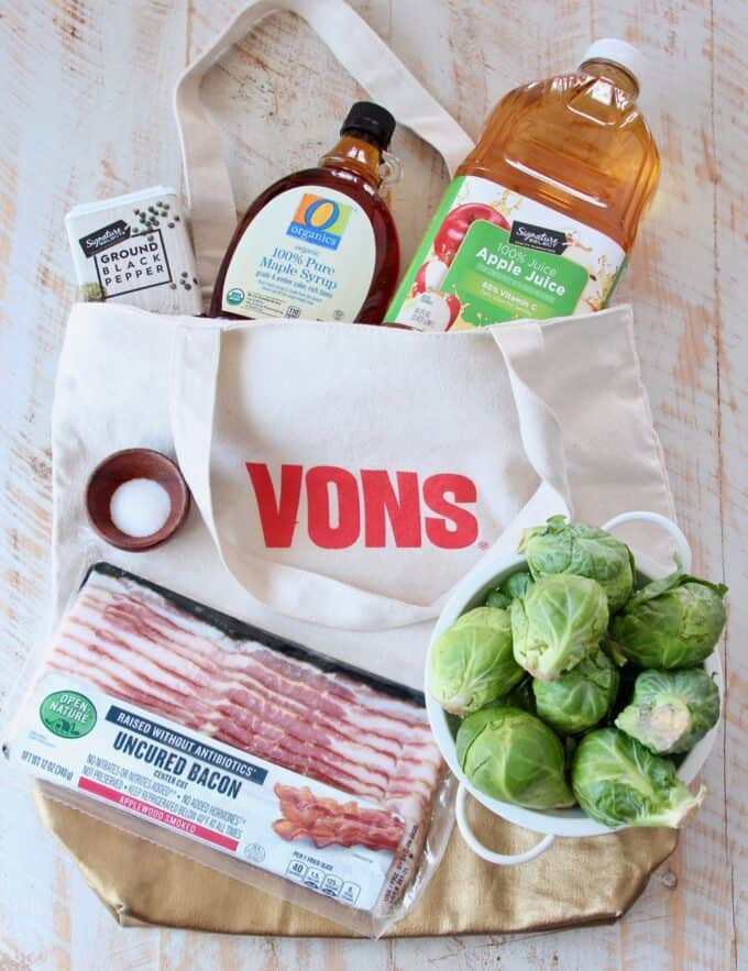 Ingredients for maple bacon brussel sprouts