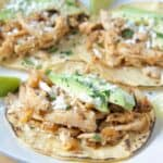 shredded chicken tacos on plate topped with sliced avocado