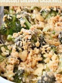 broccoli casserole in dish with cracker topping
