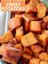 cubes of honey roasted sweet potatoes in bowl