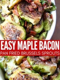 pan fried brussels sprouts in serving dish