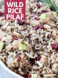 wild rice pilaf in serving dish