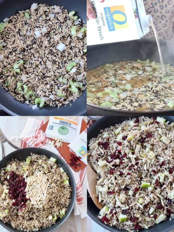 collage of images showing how to make wild rice pilaf stuffing