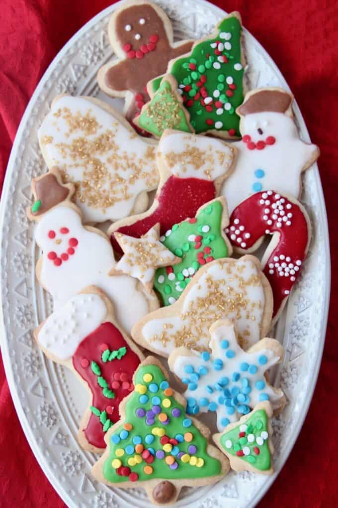 Overhead image of decorated sugar cookies on plate