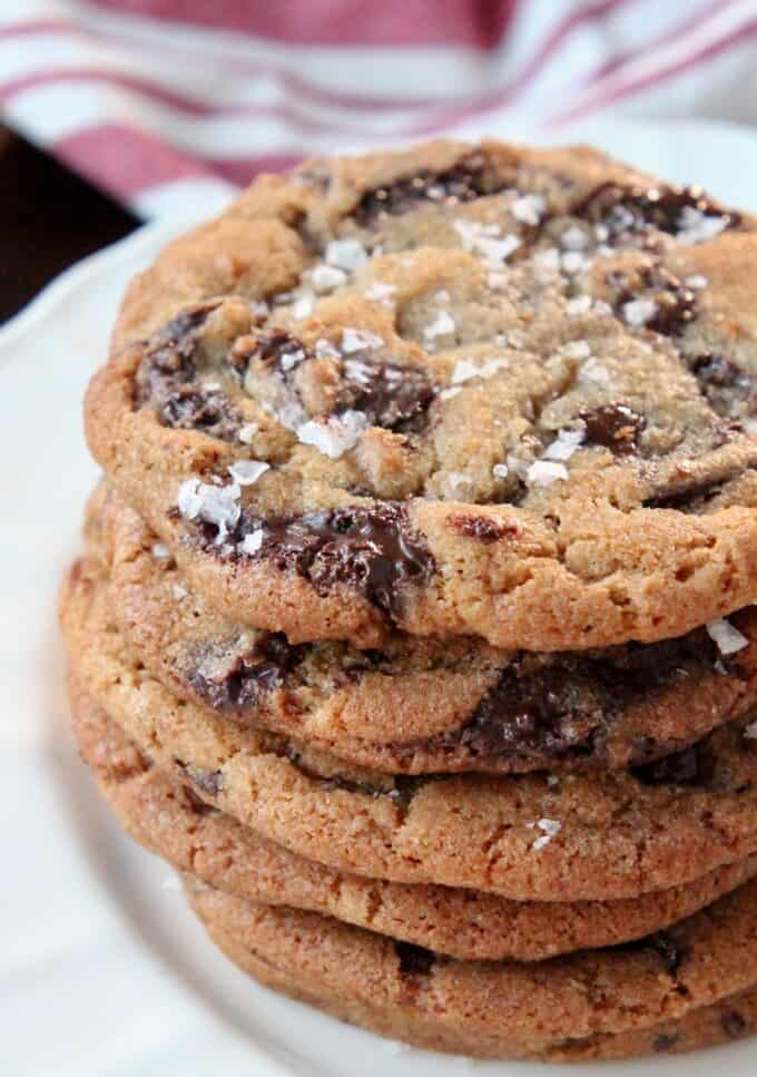 stacked up chocolate chip cookies on plate