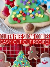 Decorated holiday sugar cookies on plate and wire cooling rack