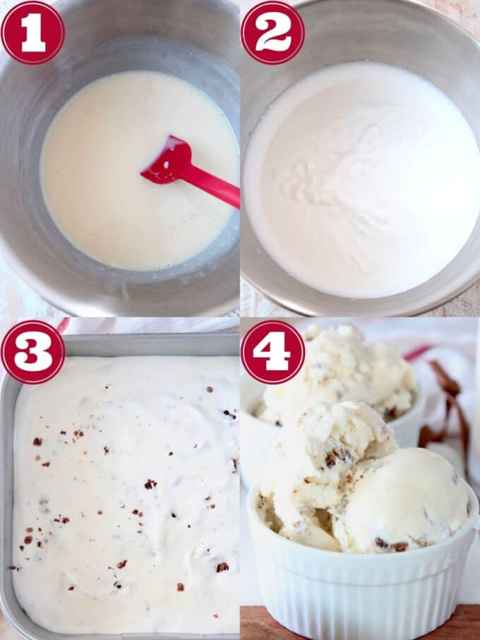 collage of images showing how to make no churn milk and cookies ice cream