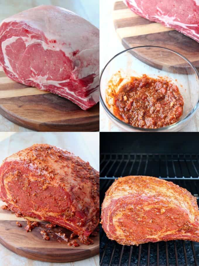 collage of images showing how to make harissa rubbed smoked prime rib