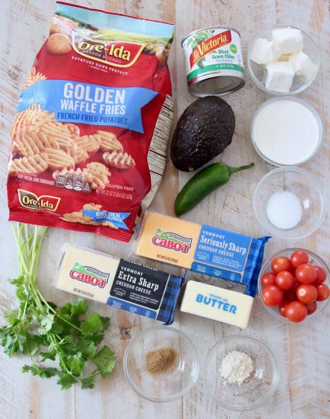 overhead image of ingredients for waffle fry nachos