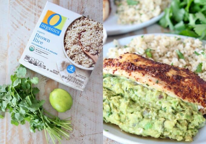 collage of images showing ingredients for cilantro lime brown rice and rice plated on a dish with guacamole stuffed chicken