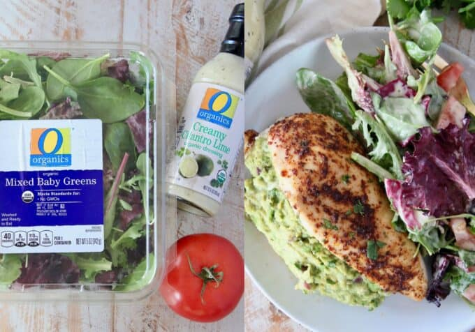 collage of images with ingredients for salad and salad plated with stuffed chicken