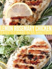 grilled chicken breast on plate with lemon slices