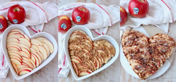 collage of images showing how to make a heart shaped apple pizza