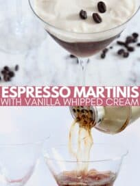 espresso martini poured from shaker into martini glass and in martini glass topped with whipped cream and coffee beans