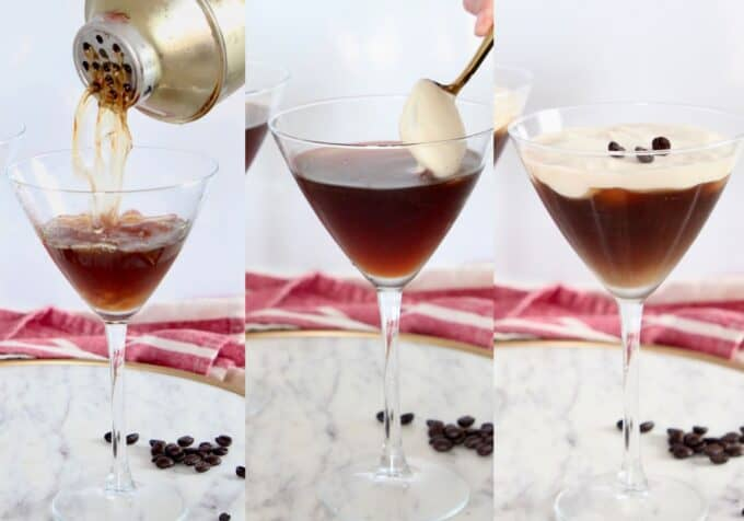 collage of images showing how to make an espresso martini