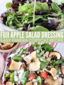 collage of images showing apple salad in bowl and small pitcher pouring vinaigrette dressing on salad in a glass bowl