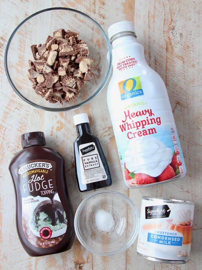 ingredients for homemade moose tracks ice cream