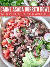 grilled steak in bowl with diced tomatoes and sliced avocado
