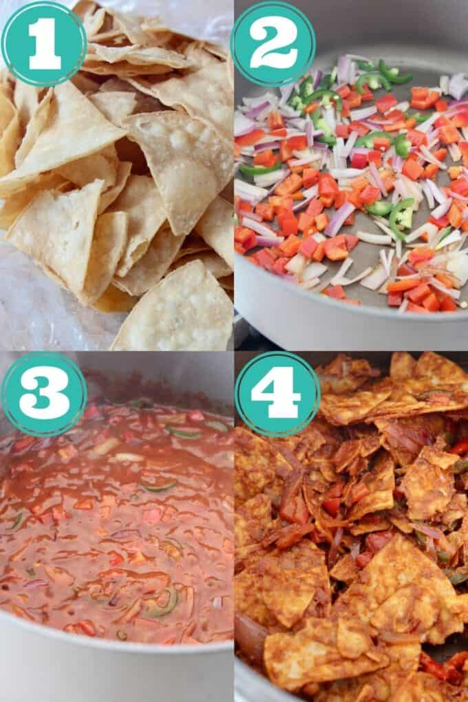 collage of images showing how to make chilaquiles rojos