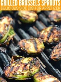 cut brussels sprouts on grill