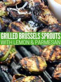 grilled brussels sprouts in bowl and on the grill