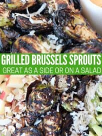 grilled brussels sprouts in bowl and on top of a salad