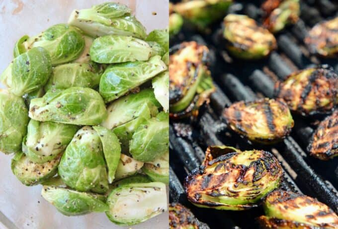 collage of images showing how to make grilled brussels sprouts