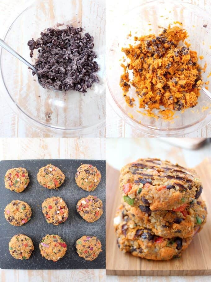 collage of images showing how to make veggie burgers