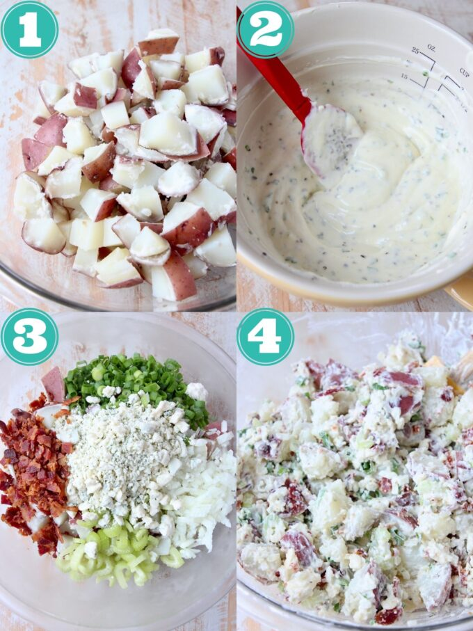 collage of images showing how to make blue cheese potato salad