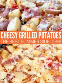 grilled cubed potatoes in foil covered with cheese