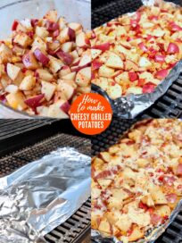 collage of images showing how to make cheesy grilled potatoes