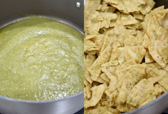 collage of images showing how to make chilaquiles verdes