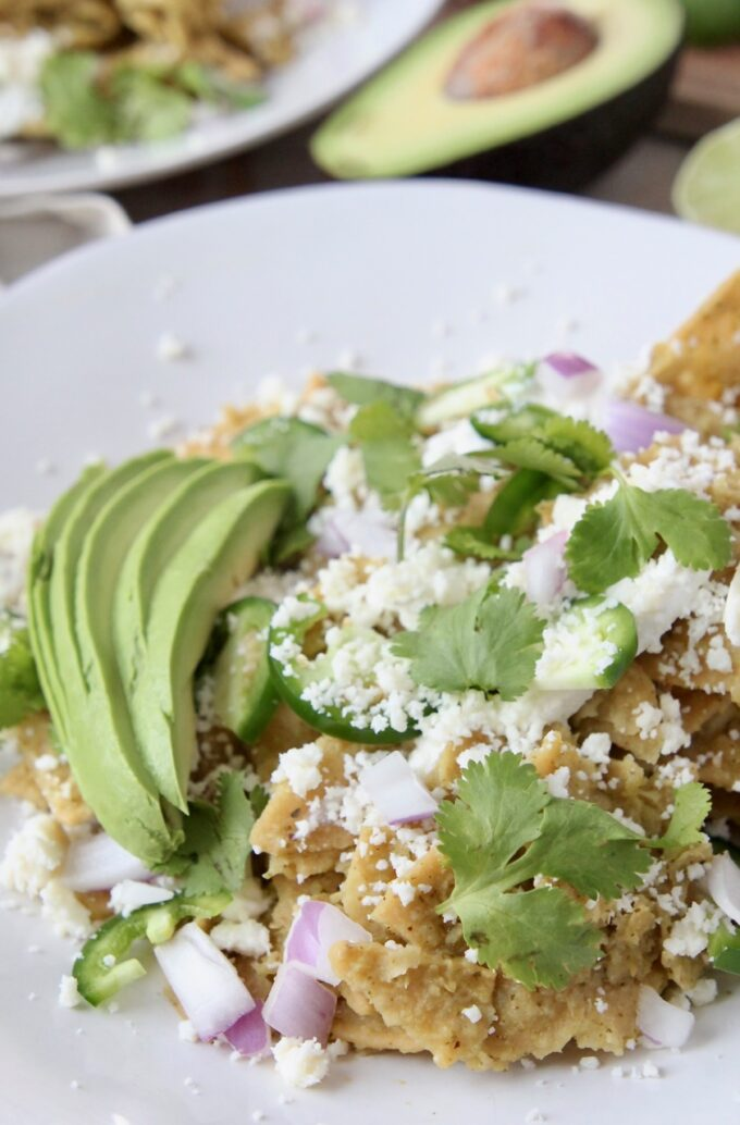 chilaquiles on plate with cilantro, onion and avocado